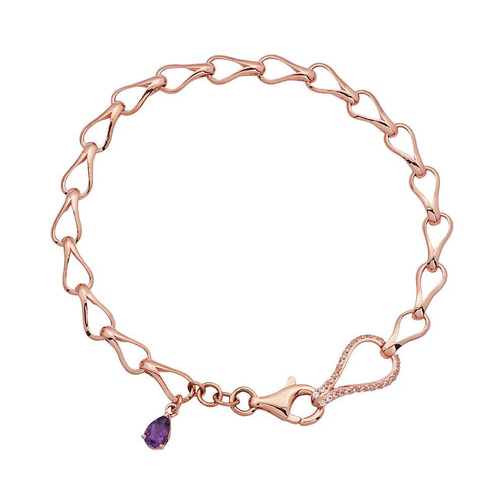 Amethyst & Lab-Created White Sapphire 18k Rose Gold Over Silver Teardrop Bracelet