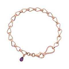 Amethyst & Lab-Created White Sapphire 18k Rose Gold Over Silver Teardrop Bracelet