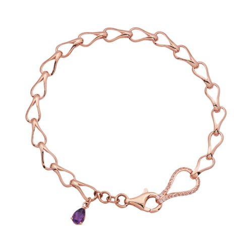 Amethyst and Lab-Created White Sapphire 18k Rose Gold Over Silver Teardrop Bracelet