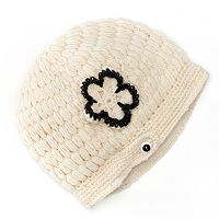 SIJJL Flower Crochet Fleece-Lined Wool Beanie Hat