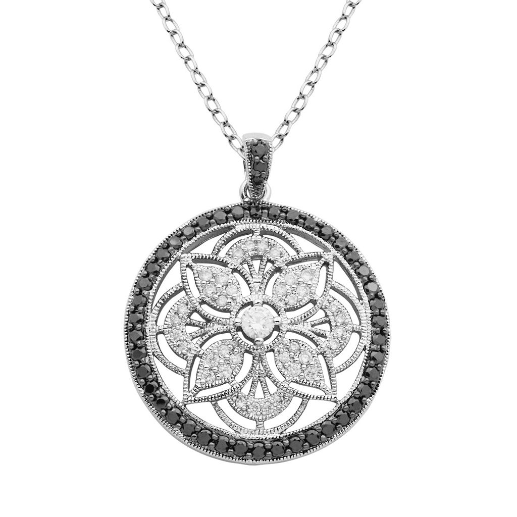 Black Spinel & Cubic Zirconia Sterling Silver Flower Pendant Necklace