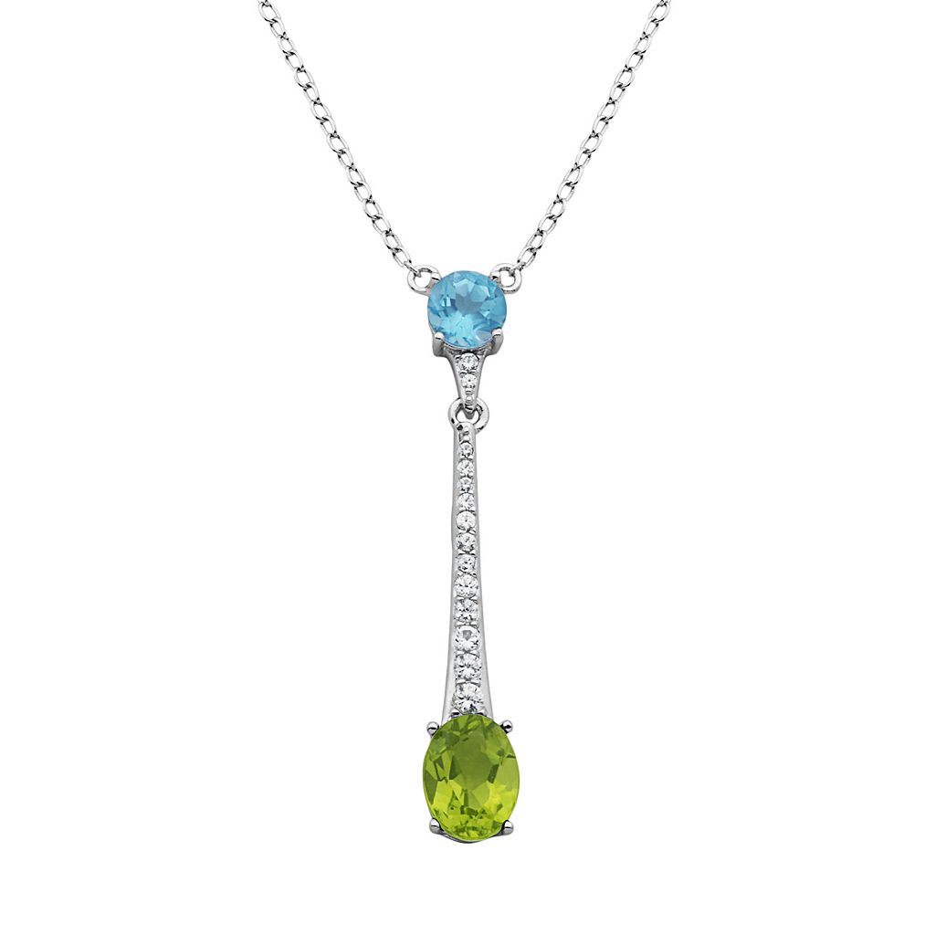 Gemstone Sterling Silver Linear Necklace