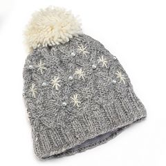 SIJJL Beaded Pom-Pom Knit Wool Beanie Hat