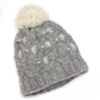 SIJJL Beaded Pom-Pom Knit Wool Beanie Hat