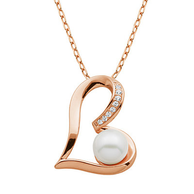 Freshwater Cultured Pearl and Lab-Created White Sapphire 18k Rose Gold Over Silver Heart Pendant Necklace