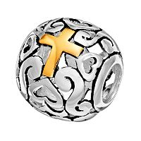 Individuality Beads Sterling Silver & 14k Gold Over Silver Openwork Heart & Cross Spacer Bead