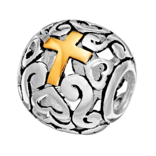 Individuality Beads Sterling Silver and 14k Gold Over Silver Openwork Heart and Cross Spacer Bead