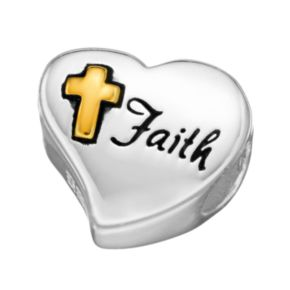 "Individuality Beads Sterling Silver & 14k Gold Over Silver ""Faith"" Cross Heart Bead"