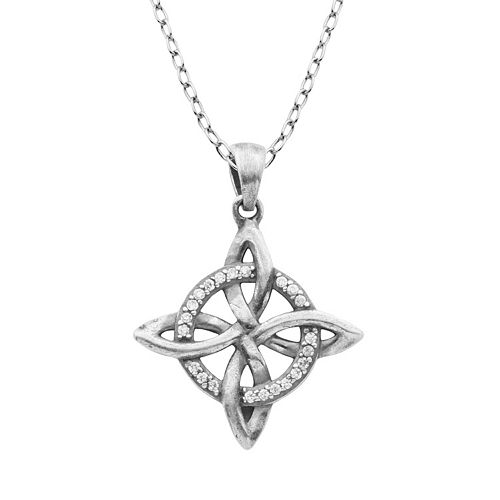 Cubic Zirconia Sterling Silver Celtic Pendant Necklace