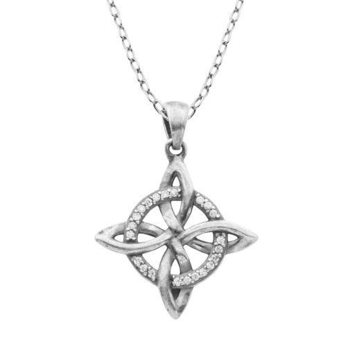 Cubic Zirconia Sterling Silver Celtic Pendant Necklace