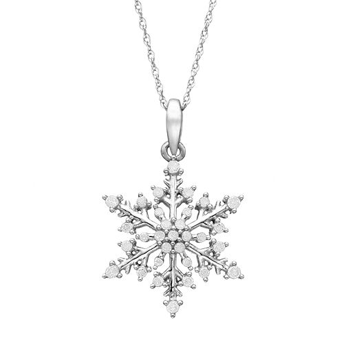 1/4 Carat T.W. Diamond 10k White Gold Snowflake Pendant Necklace
