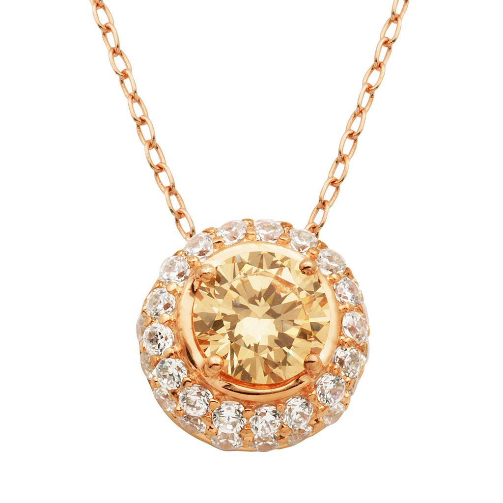 Champagne & White Cubic Zirconia 18k Rose Gold Over Silver Halo Pendant Necklace