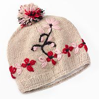 SIJLL Embroidered Flower Pom-Pom Wool Beanie Hat