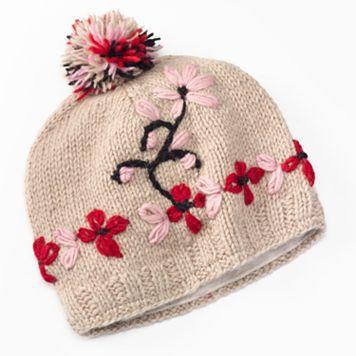 SIJLL Embroidered Flower Pom-Pom Wool Beanie Hat