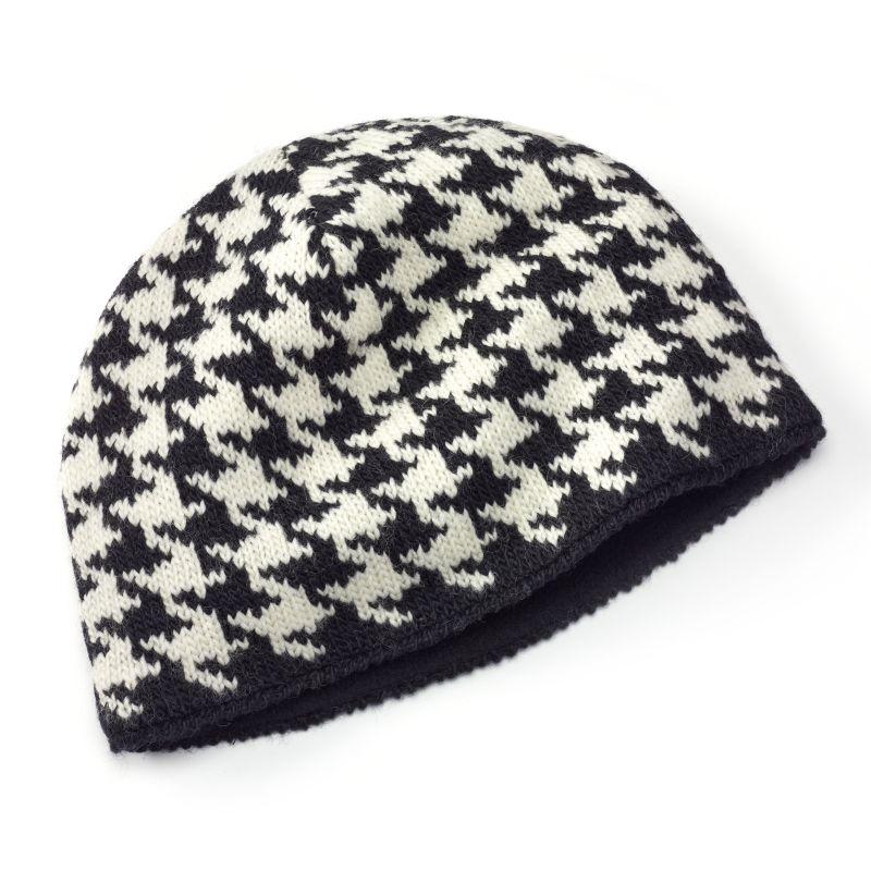 SIJJL Houndstooth Wool Beanie Hat