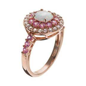 Lab-Created Opal, Lab-Created Pink Sapphire and Sky Blue Topaz 18k Rose Gold Over Silver Tiered Ring