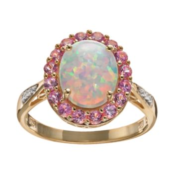 Lab-Created Opal and Lab-Created Sapphire 18k Gold Over Silver Oval Halo Ring