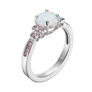 Lab-Created Opal and Lab-Created Pink Sapphire Sterling Silver Ring