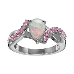 Lab-Created Opal & Lab-Created Pink Sapphire Sterling Silver Bypass Ring