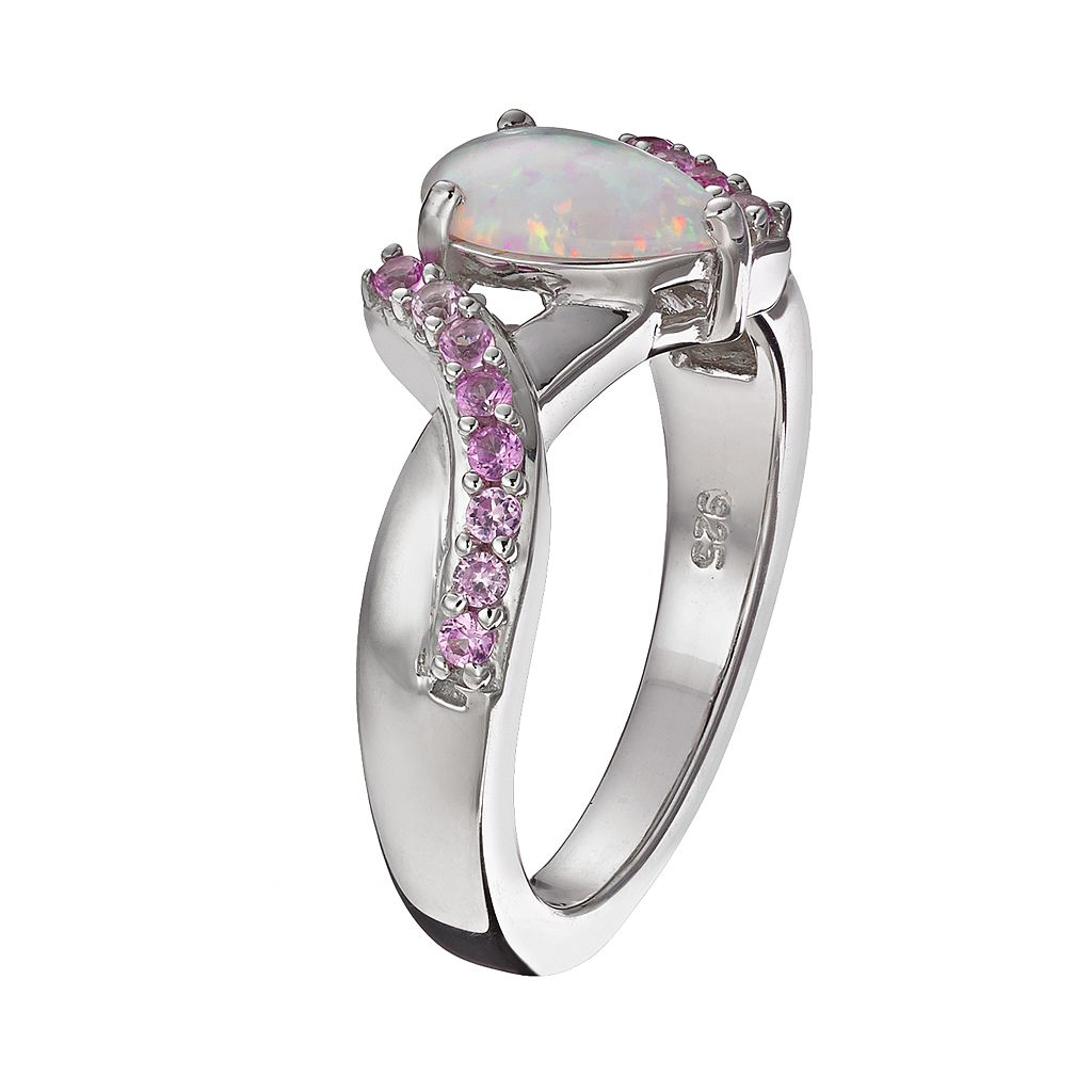 Lab-Created Opal and Lab-Created Pink Sapphire Sterling Silver Bypass Ring