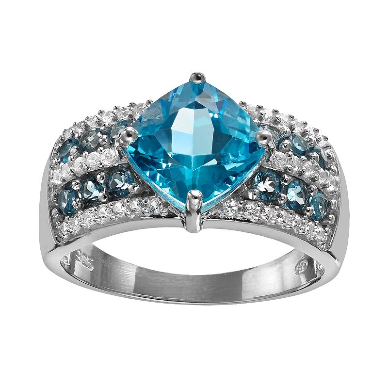 Swiss Blue Topaz & Lab-Created White Sapphire Sterling Silver Striped Ring