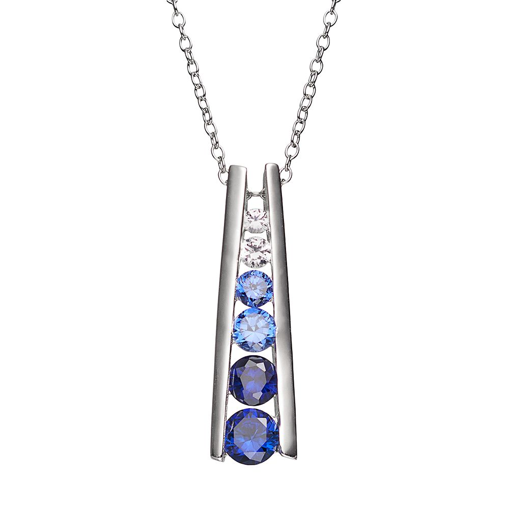 Lab-Created Blue & White Sapphire Sterling Silver Graduated Stick Pendant Necklace