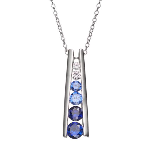 Lab-Created Blue and White Sapphire Sterling Silver Graduated Stick Pendant Necklace