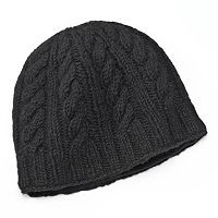 SIJJL Braid Cable-Knit Wool Beanie Hat