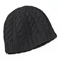 SIJJL Braid Cable-Knit Wool Beanie Hat