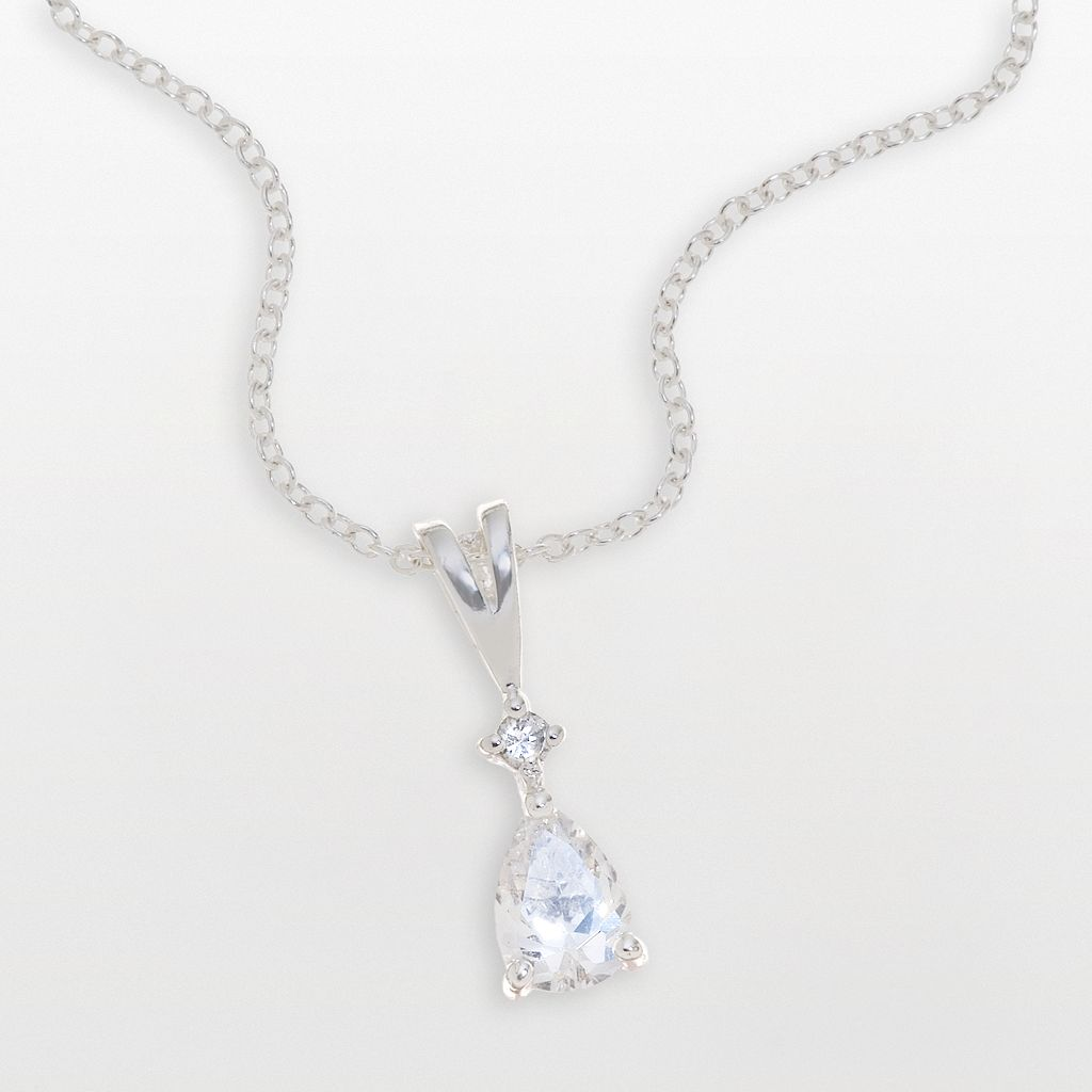 Sterling Silver Pear-Shaped Clear Cubic Zirconia Pendant