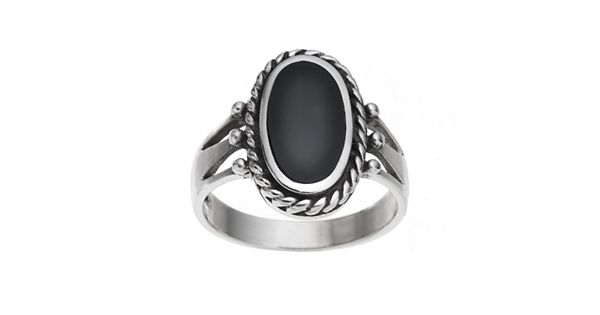 Sterling Silver Onyx Crown Ring