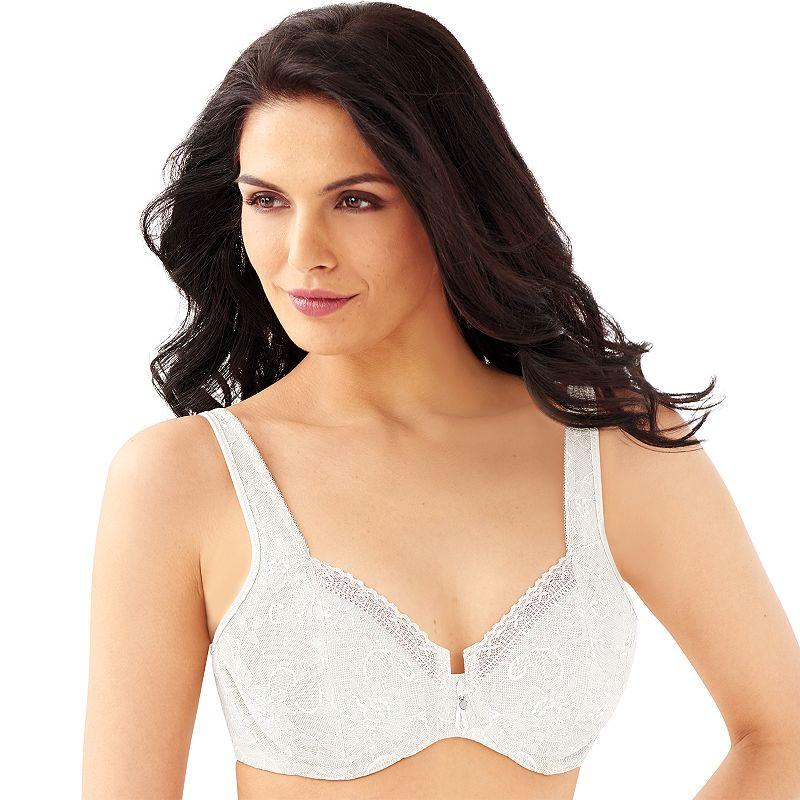Bali Bra: Satin Tracings Comfort-U Back Full-Figure Lace Minimizer Bra 3446 - Women's