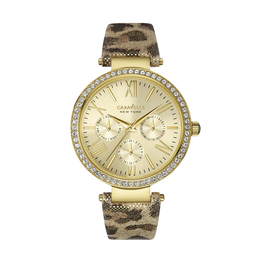Caravelle New York by Bulova Women's Crystal Leather Watch - 44N103