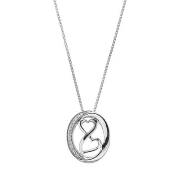 Love Is Forever Sterling Silver Diamond Accent Heart Mobius Pendant Necklace