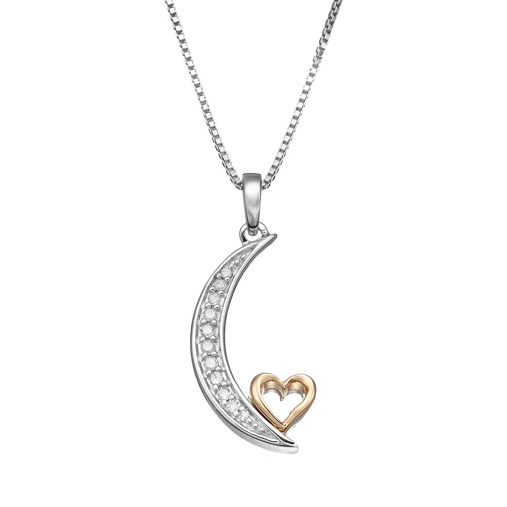 Love Is Forever Diamond Accent Sterling Silver & 14k Gold Over Silver Moon & Heart Pendant Necklace