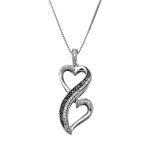 Love Is Forever 1/10 Carat T.W. Black & White Diamond Sterling Silver Double Heart Pendant Necklace