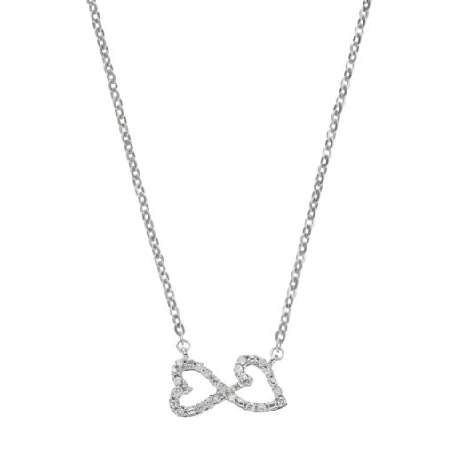 Love Is Forever Sterling Silver 1/10 Carat T.W. Diamond Double Heart Necklace