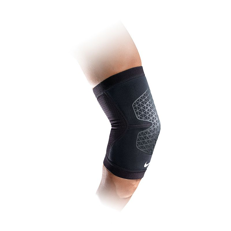 Nike Elbow Sleeve, Black The lightweight Ariaprene design of this Nike elbow sleeve will keep your muscles warm and joints supported. Strategically placed mesh increases breathability & releases excess heat Contoured design allows freedom of movement Elastic binding & silicone grip lends optimal fit Abrasion resistant Fabric & Care Nylon, TPE, polyester, silicone, spandex Imported Size: Xl. Color: Black. Gender: Unisex.