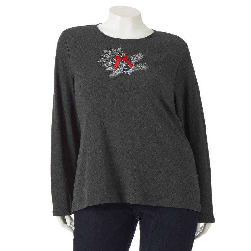 Croft & Barrow Lurex Embroidered Holiday Tee - Women's Plus Size