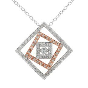 1/5 Carat T.W. Diamond Sterling Silver Two Tone Square Pendant Necklace