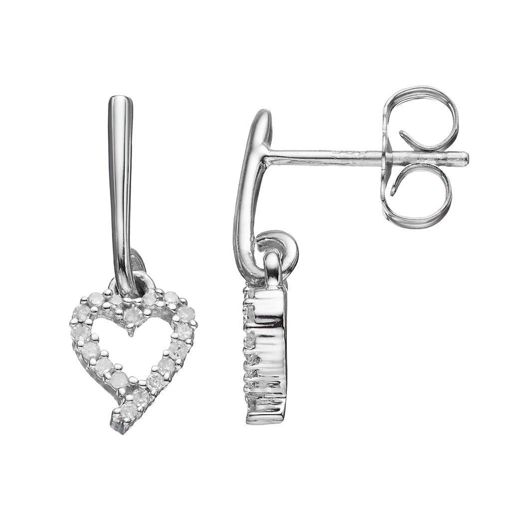 Love Is Forever Sterling Silver 1/10 Carat T.W. Diamond Heart Drop Earrings
