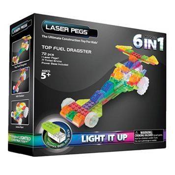 Laser Pegs 6-in-1 Dragster Light-Up Construction Set