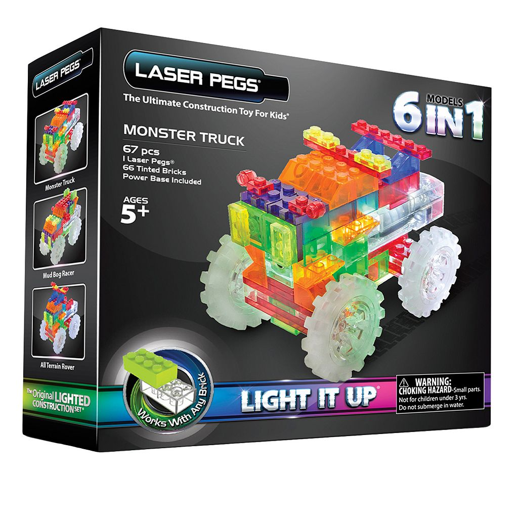 Laser Pegs 6-in-1 Monster Truck Light-Up Construction Set