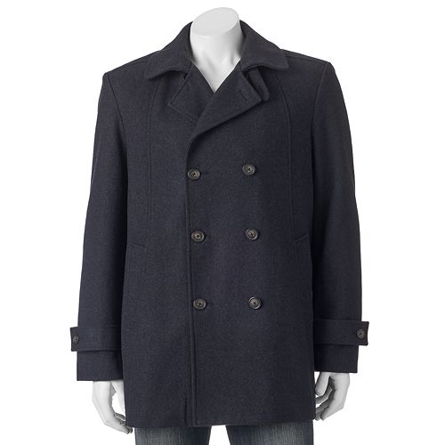 Men's Billy London Slim-Fit Double-Breasted 33-in. Wool-Blend Short Peacoat