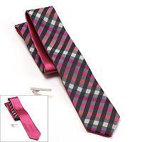 Apt. 9® Starfish Gingham Plaid & Solid Reversible Skinny Tie & Tie Bar Set - Men
