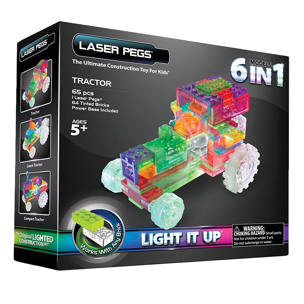Laser Pegs 6-in-1 Tractor Light-Up Construction Set