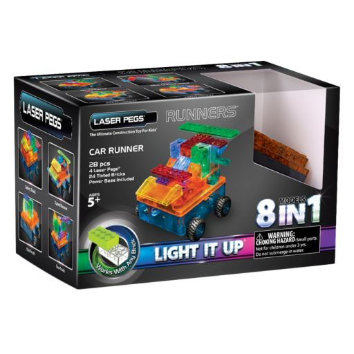 Laser Pegs 8-in-1 Car Runners Light-Up Construction Set