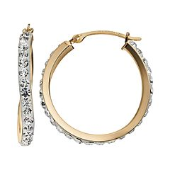 Crystal 14k Gold-Bonded Sterling Silver Curved Hoop Earrings