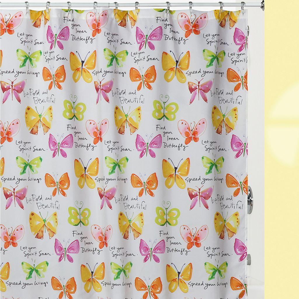 Kathy Davis Flutterby Fabric Shower Curtain