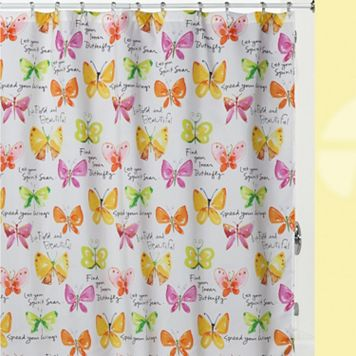 Kathy Davis Flutterby Fabric Shower Curtain